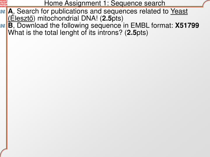 Home Assignment 1: Sequence search