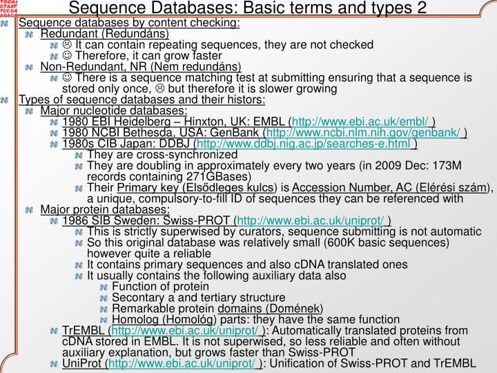 Sequence Databases: Basic terms and types 2