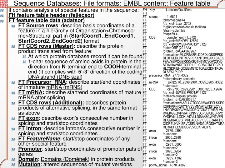 Sequence Databases: File formats: EMBL content: Feature table