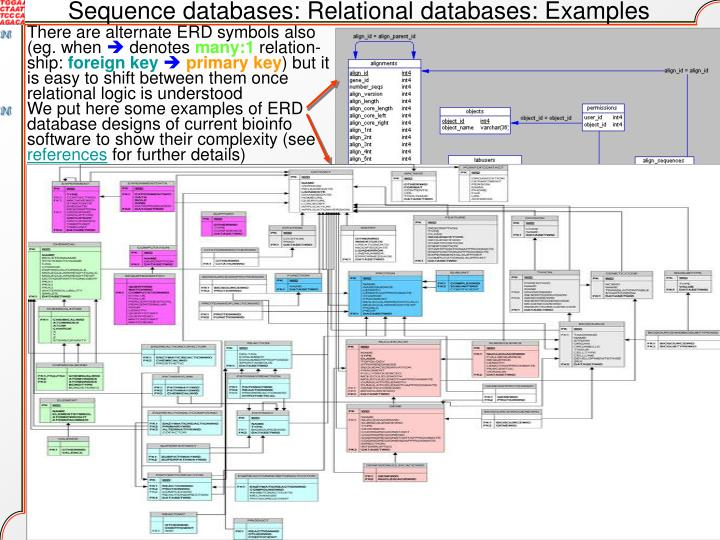 Sequence databases: Relational databases: Examples