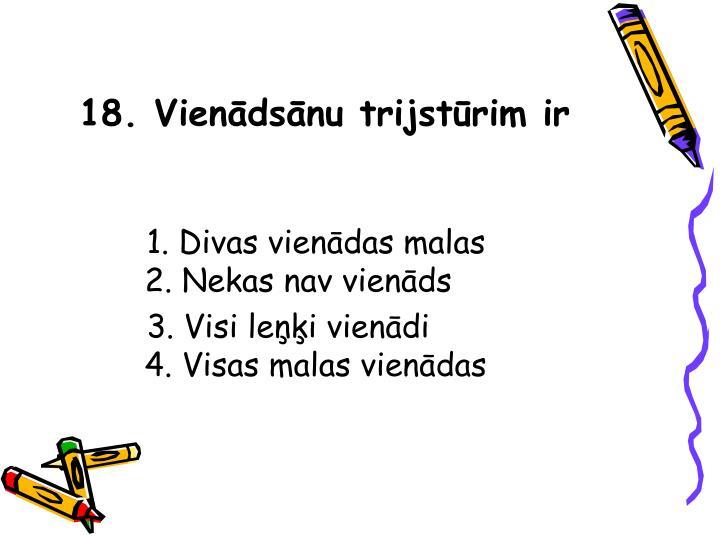 18. Vienādsānu trijstūrim ir