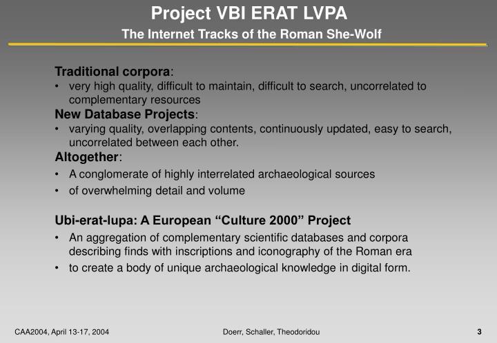Project VBI ERAT LVPA