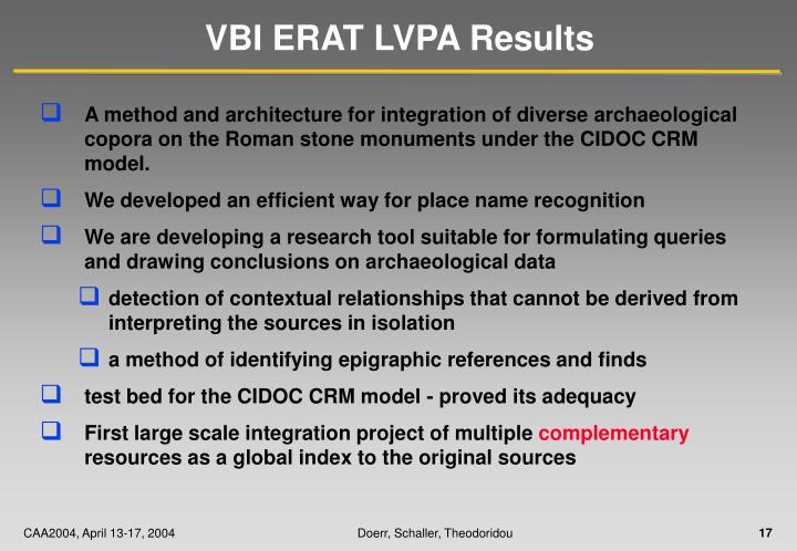 VBI ERAT LVPA Results