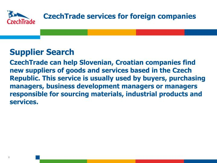 CzechTrade services for foreign companies