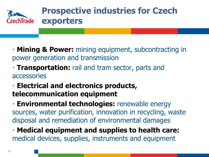 Prospective industries for Czech exporters