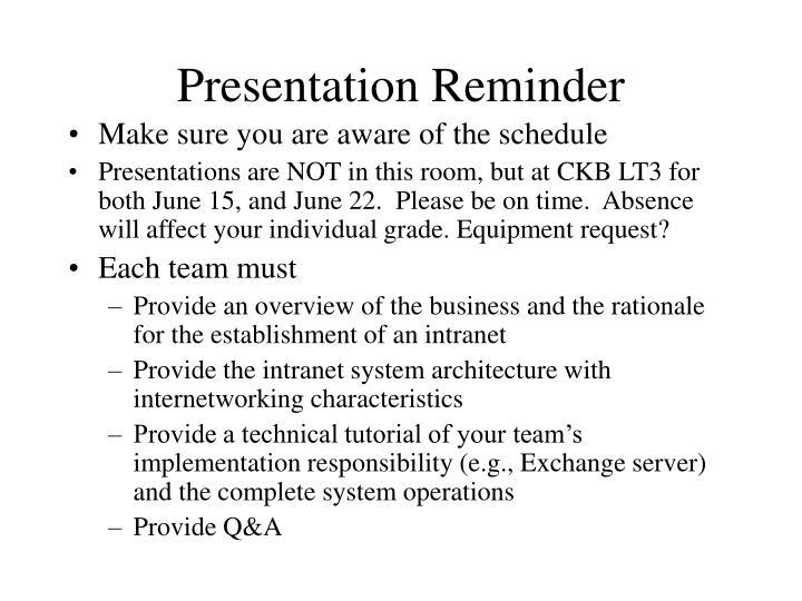 Presentation Reminder