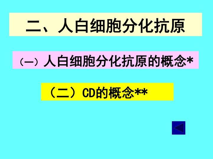 二、人白细胞分化抗原