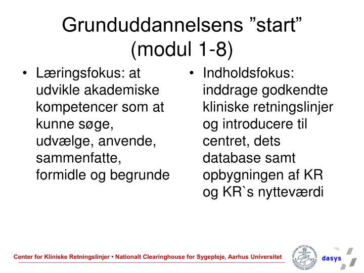 "Grunduddannelsens ""start"""