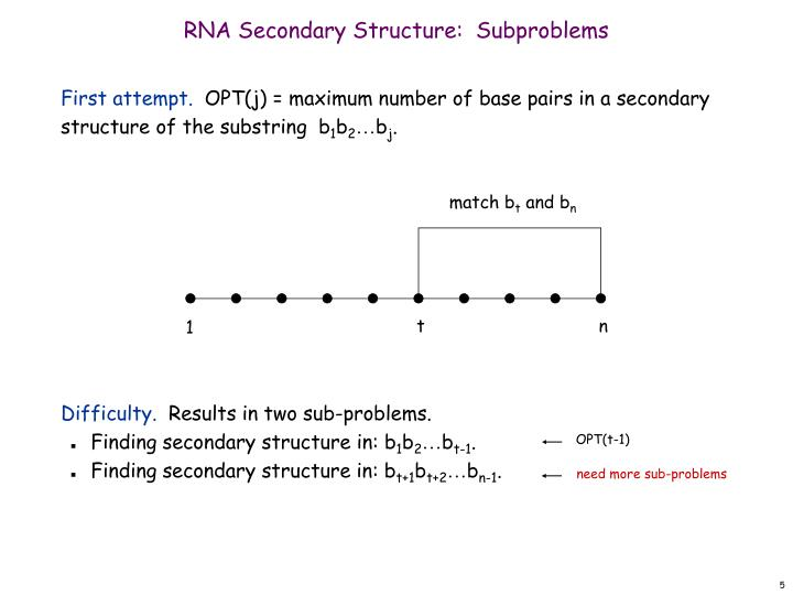 RNA Secondary Structure:  Subproblems