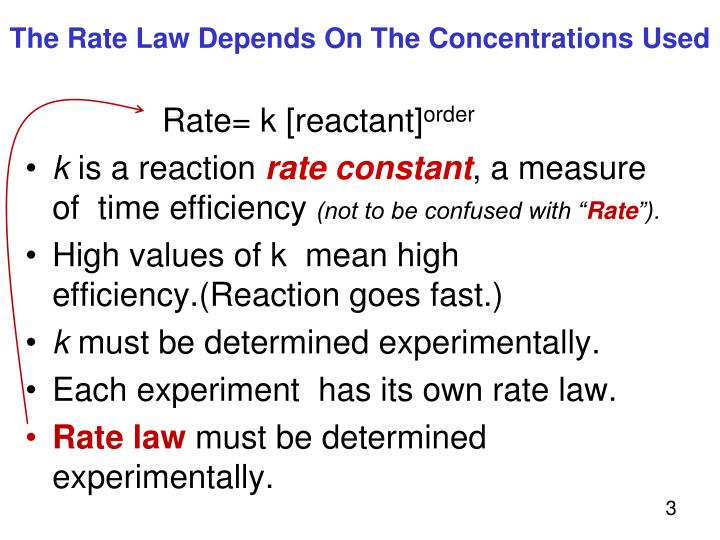 The rate law depends on the concentrations used