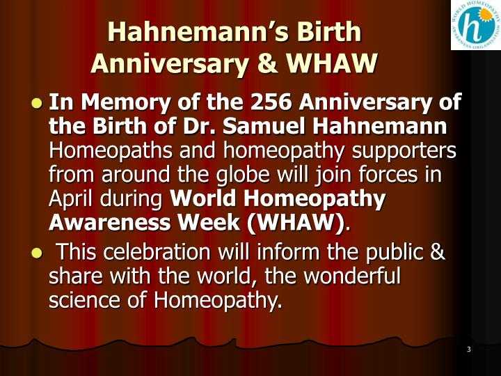 Hahnemann's Birth Anniversary & WHAW