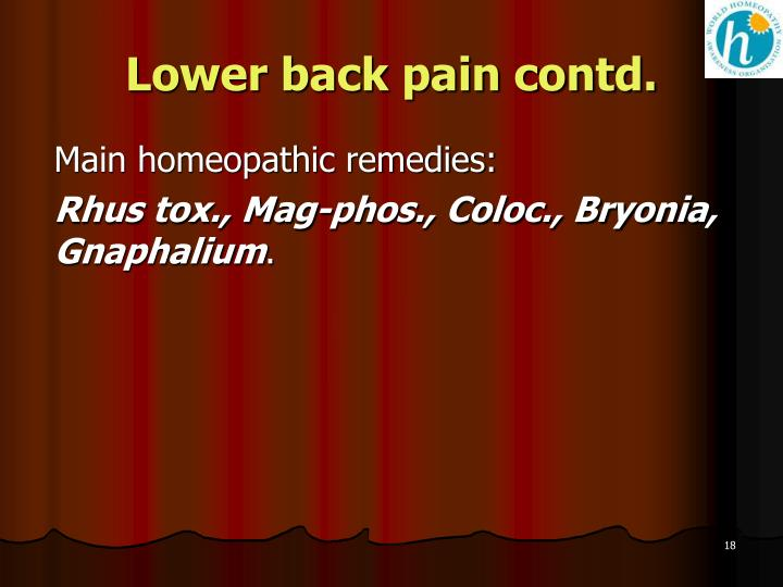 Lower back pain contd.