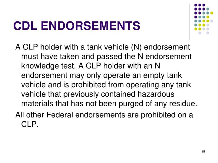 CDL ENDORSEMENTS
