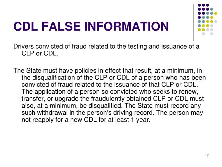CDL FALSE INFORMATION