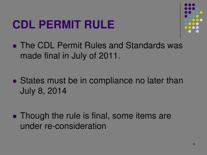 CDL PERMIT RULE