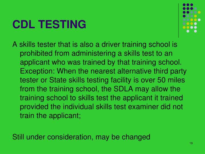 CDL TESTING