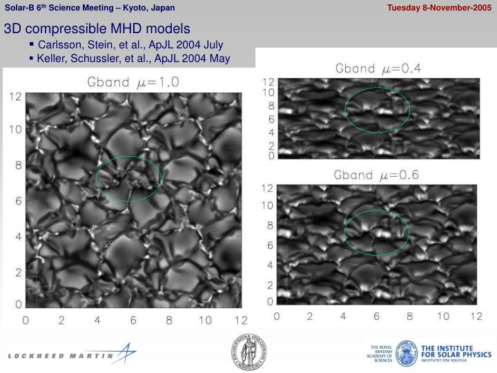 3D compressible MHD models