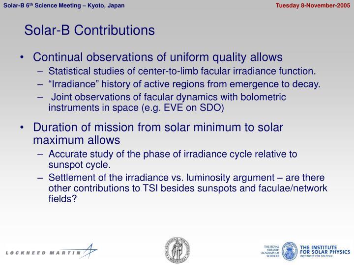 Solar-B Contributions