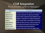 clr integration the system data sqlserver namespace