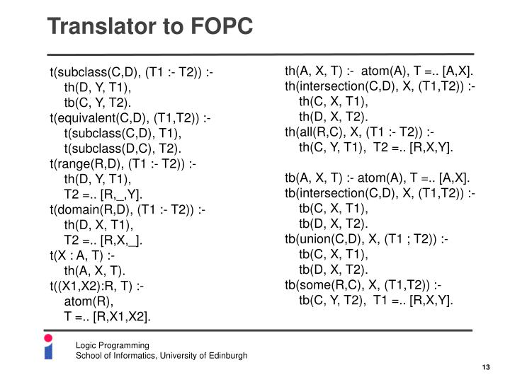 Translator to FOPC