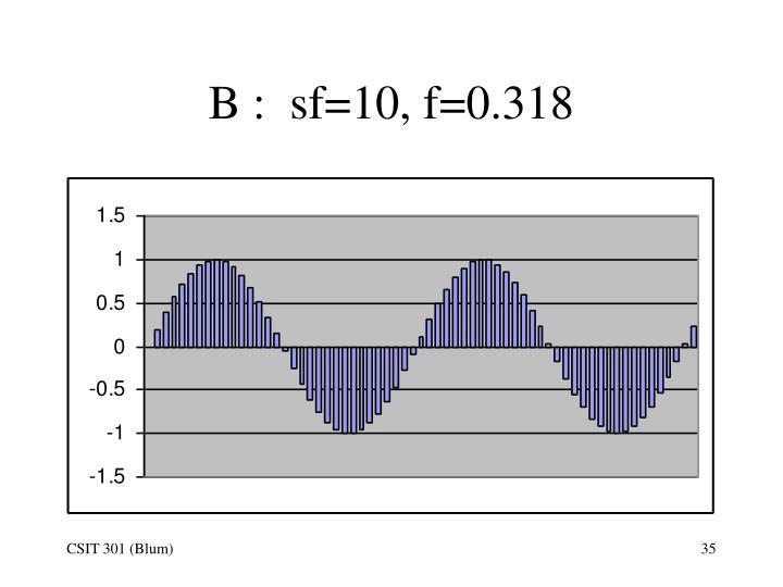 B :  sf=10, f=0.318