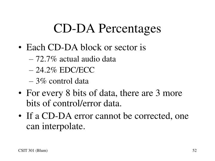 CD-DA Percentages