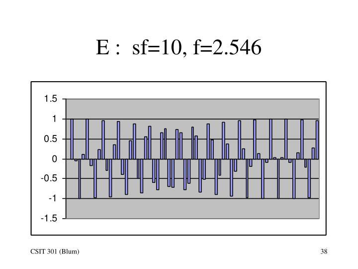 E :  sf=10, f=2.546