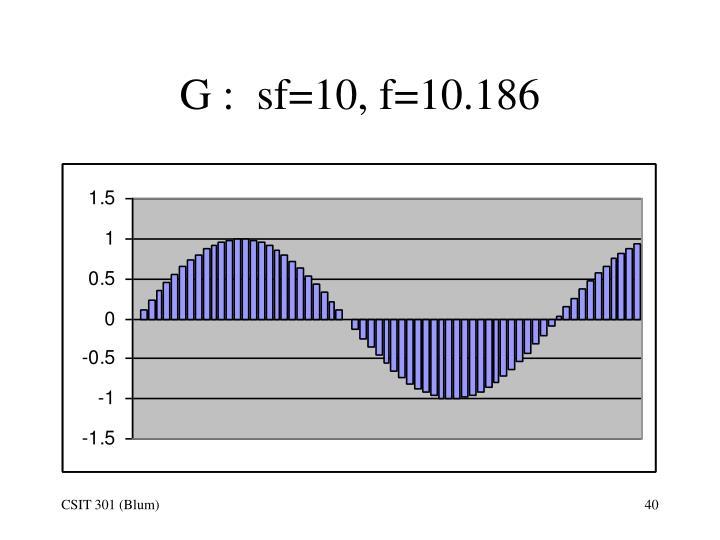 G :  sf=10, f=10.186