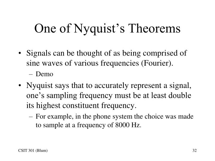 One of Nyquist's Theorems
