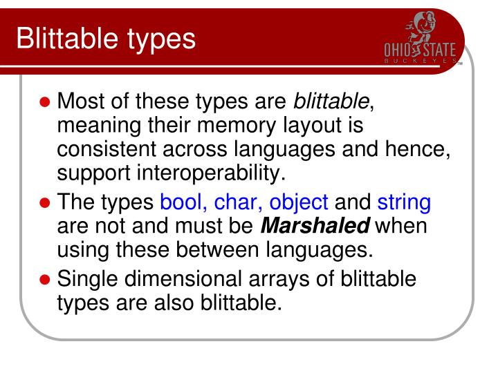 Blittable types