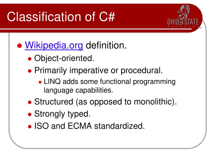 Classification of C#