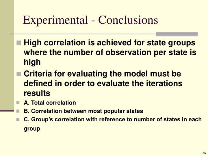 Experimental - Conclusions