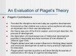 an evaluation of piaget s theory
