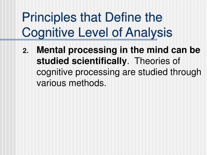 Principles that define the cognitive level of analysis1