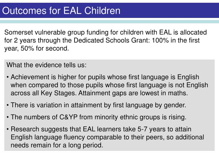 Outcomes for EAL Children