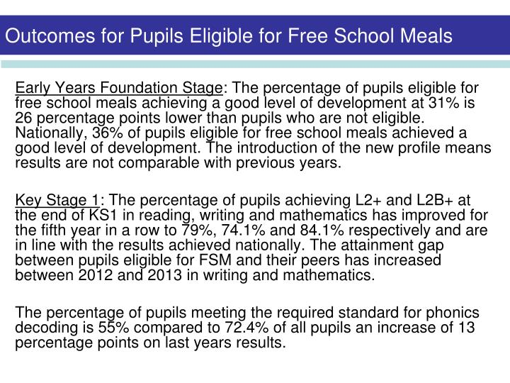Outcomes for Pupils Eligible for Free School Meals
