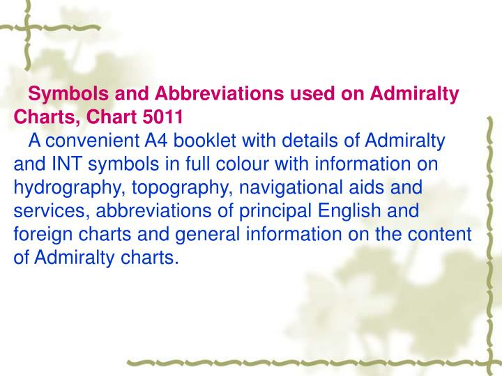 Symbols and Abbreviations used on Admiralty Charts, Chart 5011