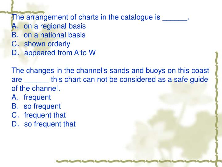The arrangement of charts in the catalogue is ______