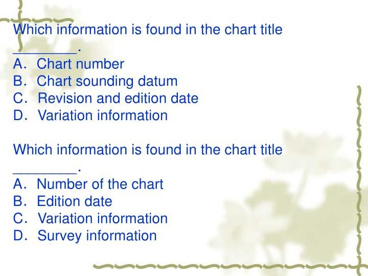Which information is found in the chart title ________