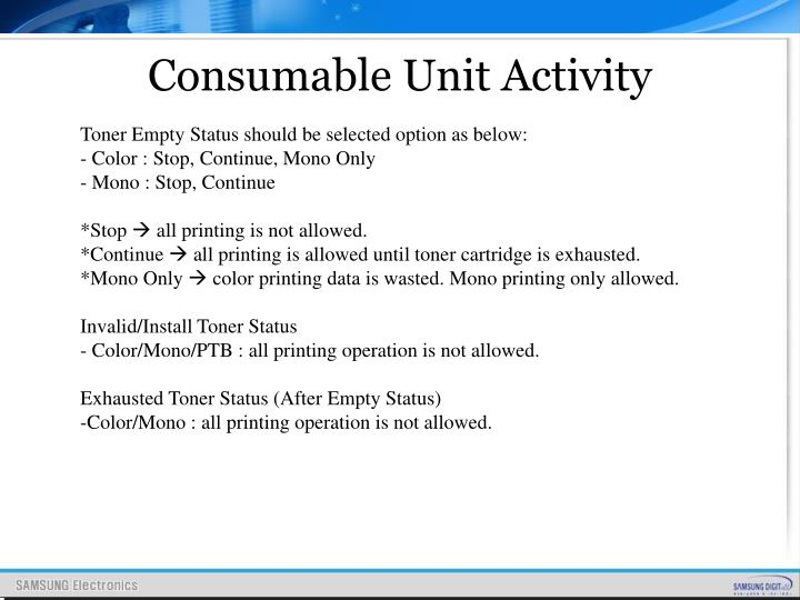 Consumable Unit Activity