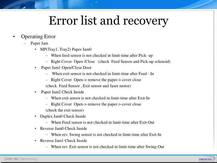 Error list and recovery