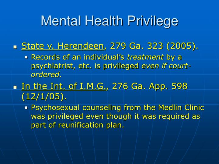 Mental Health Privilege