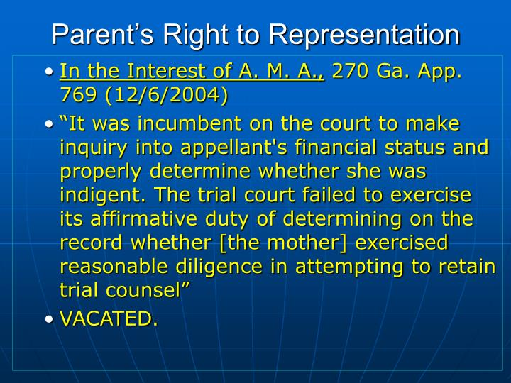 Parent's Right to Representation