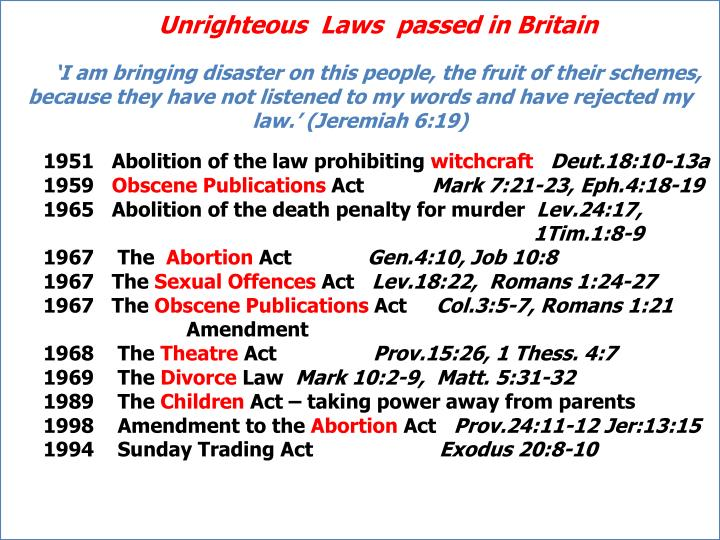 Unrighteous  Laws  passed in Britain