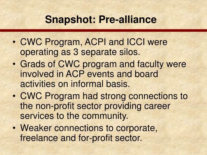 Snapshot: Pre-alliance