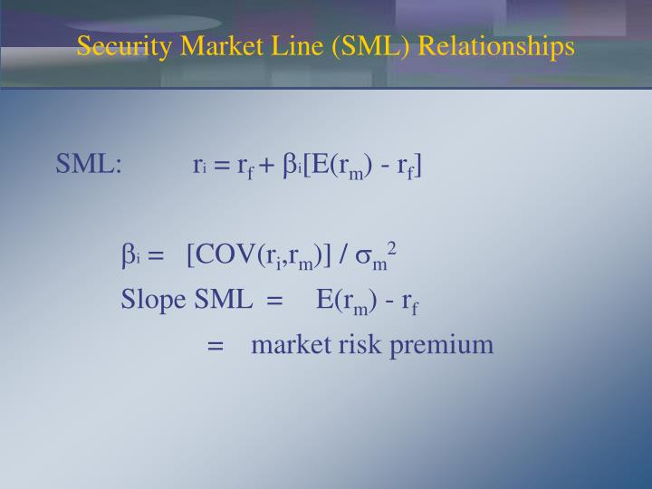 Security Market Line (SML) Relationships