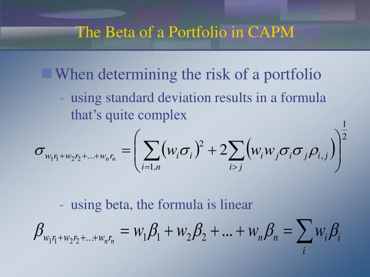 The Beta of a Portfolio in CAPM