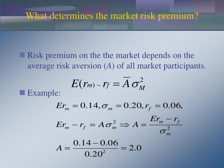 Risk premium on the the market depends on the average risk aversion (