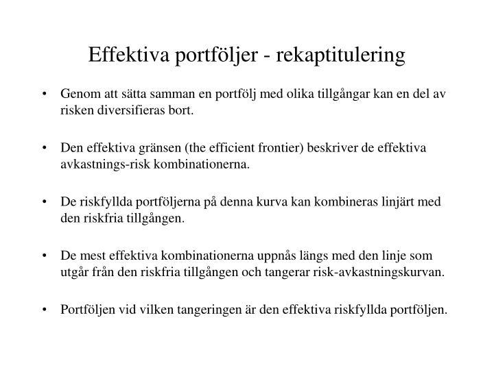 Effektiva portföljer - rekaptitulering