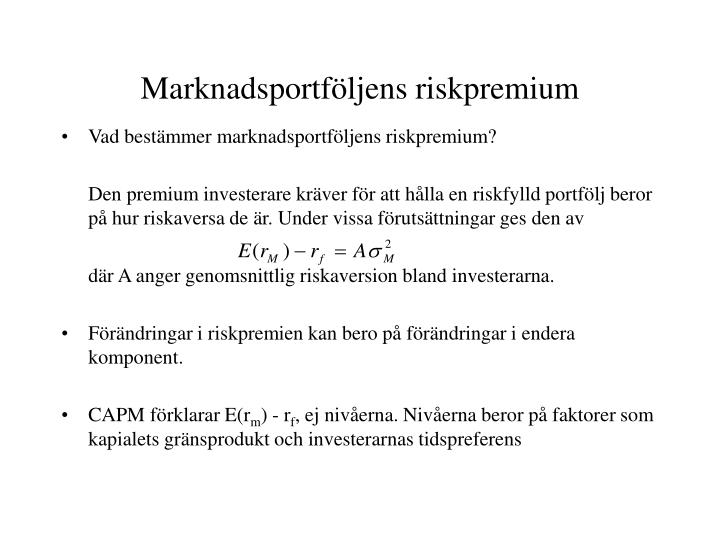Marknadsportföljens riskpremium